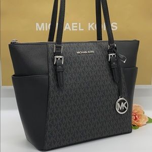 MICHAEL KORS CHARLOTTE LARGE TOP ZIP TOTE BLACK ML